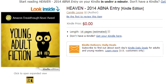 Amazon Breakthrough Novel Award excerpt of YA novel HEAVEN