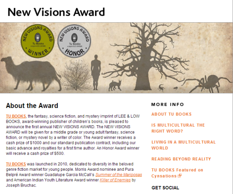 Lee and Low New Visions Award 2014