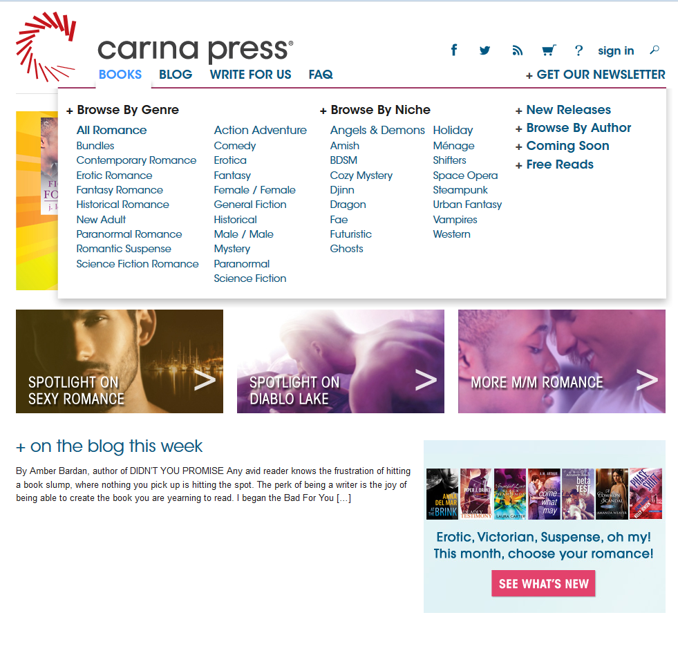 Carina Press main website page 6_27_16