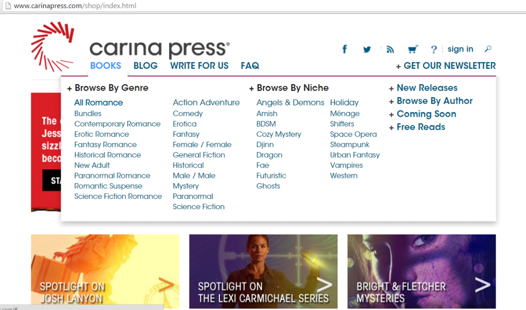 Carina Press screen shot