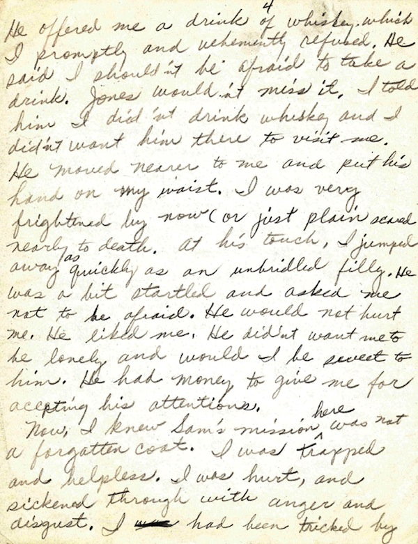 This undated image provided by Guernsey's auction house in New York shows one of six legal-sized papers, written in pencil, in which Rosa Parks gives a harrowing and detailed account of her near-rape by a Mr. Charlie, a white neighbor, where she was a 18-year-old housekeeper in 1931. The date of the pages is mid-1950s to the early 1960s. (AP Photo/Guernsey's)