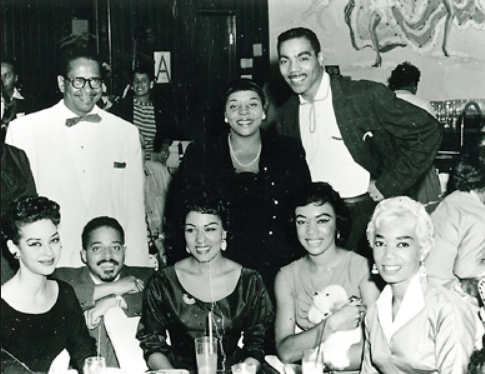 A 1955 photo taken at the Moulin Rouge Hotel & Casino in between shows. Pictures: Anna Bailey, Dianh Washington, Bob Bailey, Norma de la Cerna, Barbar and Dee Dee Jasmin.