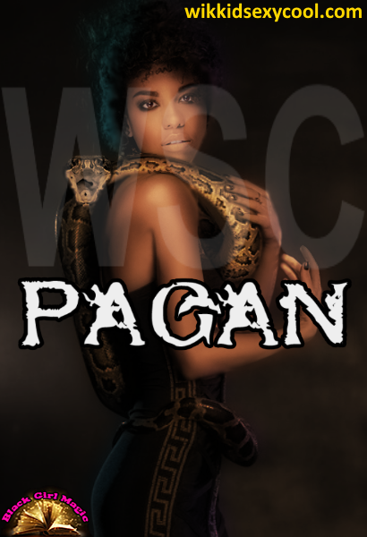 Pagan the witch and her pet snake.